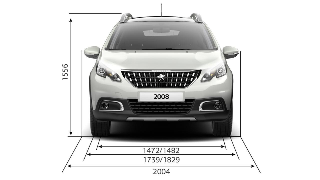 PEUGEOT 2008 SUV width and height