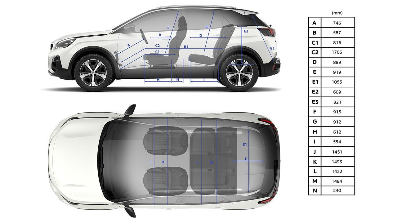 PEUGEOT 3008 SUV Interior Dimensions