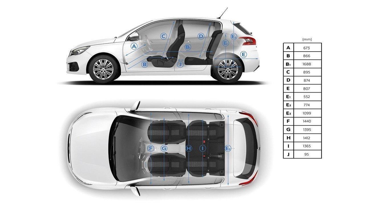 PEUGEOT 308 Hatch Interior Dimensions