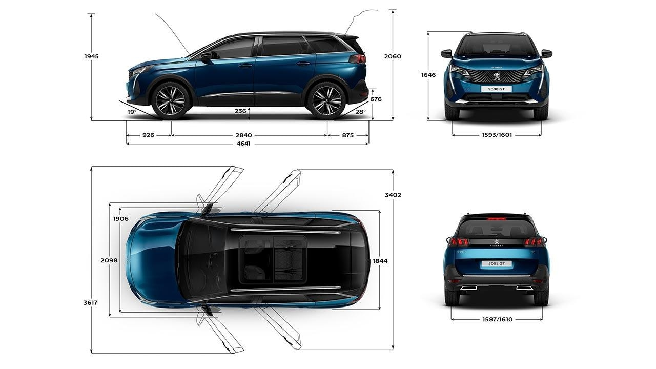 New Large 7-seat PEUGEOT 5008 SUV | Exterior Dimensions