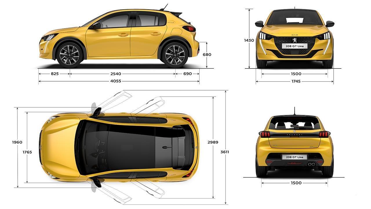 New PEUGEOT 208 Hatchback Dimensions | Exterior